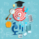 Salle de classe de chimie de physique de biologie de concept d'obtention du diplôme d'éducation Photos libres de droits