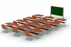 Salle de classe sur le fond blanc. 3D d'isolement illustration stock