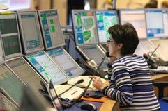 Salle de commande d'ATLAS de CERN Images libres de droits