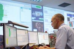 Salle de commande d'ATLAS de CERN Photos libres de droits
