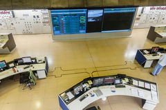 Salle de commande d'usine d'énergie hydroélectrique d'Itaipu photos libres de droits
