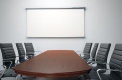 Salle de conférence avec les présidences vides Photo libre de droits