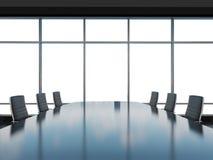 Salle de conférence panoramique dans le bureau moderne, vue de l'espace de copie des fenêtres Chaises en cuir noires et une table illustration stock