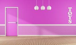 Salle de jeux rose avec la porte Photos libres de droits