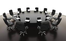 Salle de réunion, lieu de réunion et table de conférence avec des carnets Concept d'affaires rendu de l'isolat 3d Images libres de droits