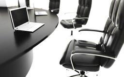 Salle de réunion, lieu de réunion et table de conférence avec des carnets Concept d'affaires rendu de l'isolat 3d Image stock