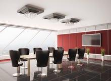 Salle de réunion moderne avec l'affichage à cristaux liquides 3d intérieur Photo stock