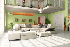 salle de séjour 3d moderne illustration stock