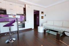 Salle de séjour avec l'intérieur de cuisine Photographie stock