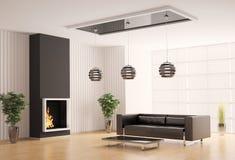 Salle de séjour avec la cheminée 3d intérieur Images stock