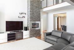 Salle de séjour avec la cheminée image libre de droits