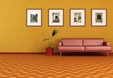 Salle de séjour avec la vieille photo Image libre de droits