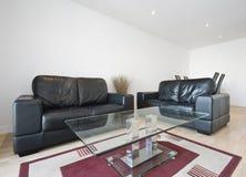 Salle de séjour avec le sofa en cuir photos libres de droits