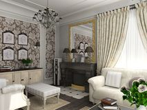 Salle de séjour avec les meubles classiques Photo stock