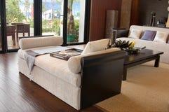 Salle de séjour avec les meubles modernes image stock
