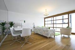 Salle de séjour construite neuve luxueuse dans l'appartement terrasse image libre de droits