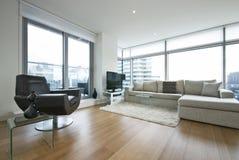 Salle de séjour contemporaine avec des meubles de créateur Image stock