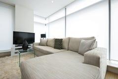 Salle de séjour contemporaine avec des meubles de créateur Images stock