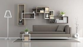 salle de séjour contemporaine brune Photographie stock