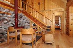 Salle de séjour de maison de logarithme naturel Images stock