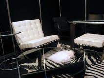 Salle de séjour en noir et blanc Photographie stock