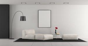 Salle de séjour minimaliste blanche photographie stock libre de droits
