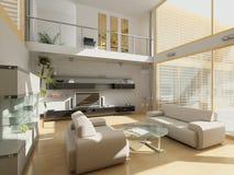 Salon moderne avec de grandes fenêtres. Photo stock