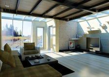 Salle de séjour moderne avec de grands hublots. Photographie stock