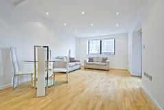 Salle de séjour moderne avec deux sofas dans le beige Image libre de droits