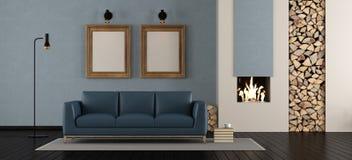 Salle de séjour moderne avec la cheminée Photos libres de droits