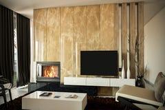 Salle de séjour moderne avec une cheminée C'est 3d rendant ainsi si vous voulez quelques modifications au modèle de couleurs de c images stock