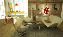 Salle de séjour moderne, l'atmosphère chaude, très élégante. Photo stock