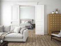 Salle de séjour moderne rendu 3d Images stock