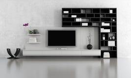Salle de séjour noire et blanche Photographie stock libre de droits