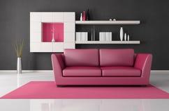 Salle de séjour rose et noire illustration stock
