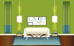 Salle de séjour verte et bleue moderne Image libre de droits