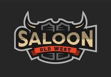 Salle, taverne, logo occidental sauvage, emblème illustration stock