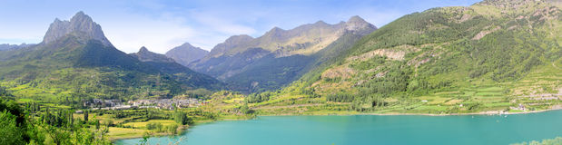Sallent de Gallego panoramic Lanuza lake Pyrenees Stock Photo