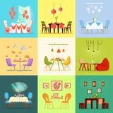 Salles de restaurant, chaises intérieures romantiques de Tableaux illustration stock