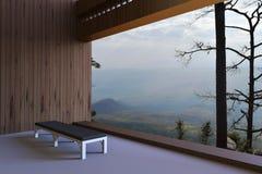 Salles modernes simples et la vue en dehors de la fenêtre donnant sur les bois et le ciel par beau matin Photographie stock libre de droits