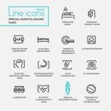 Salles spéciales d'hôpital - ligne pictogrammes de conception réglés illustration stock