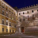 Sallustio Bandini on Piazza Salimbeni at night, Siena, Tuscany - Italy. Royalty Free Stock Image