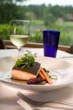 Salmões com os vegetais seridos com vinho Foto de Stock