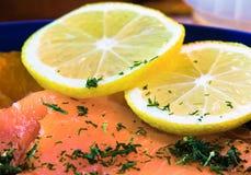 Salmões e limão Fotografia de Stock