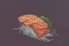 Salmões japoneses do sashimi do alimento Imagens de Stock