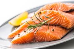 Salmões Limão cru do peper da erva dos bifes salmon no fundo branco fotos de stock royalty free