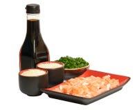 Salmões saborosos, arroz, molho de soja verde da American National Standard do alho-porro fotografia de stock