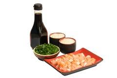 Salmões saborosos, arroz, molho de soja verde da American National Standard do alho-porro imagens de stock