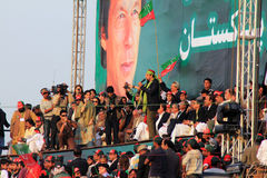 Salman Ahmed performing at PTI Rally Royalty Free Stock Photography