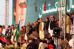 Salman Ahmed plays National Anthem at PTI Rally Stock Images